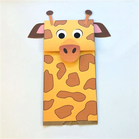 Paper Bag Puppets - giraffe paper bag puppet downloadable pdf kid s craft