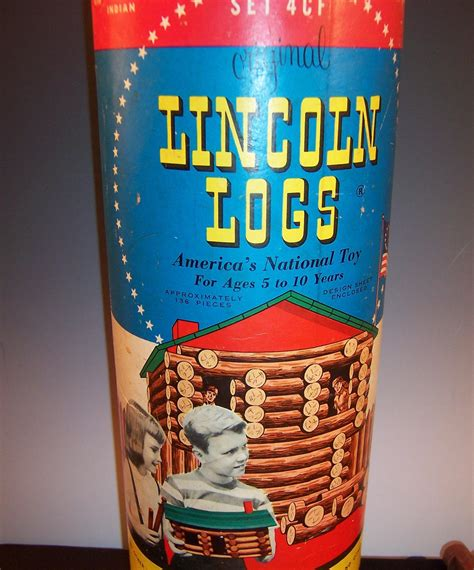 antique lincoln logs vintage lincoln logs canister for set 4cf tag sale