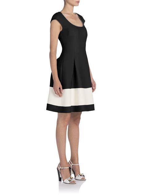 Fendi Dress lyst fendi pleated wool silk fit flare dress in black