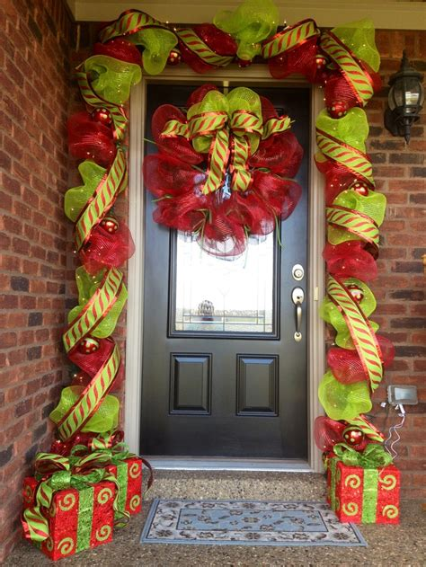 deco mesh and ribbon entry way for christmas decorating a