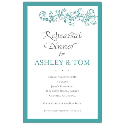 dinner invitations vine turquoise rehearsal dinner invitations paperstyle