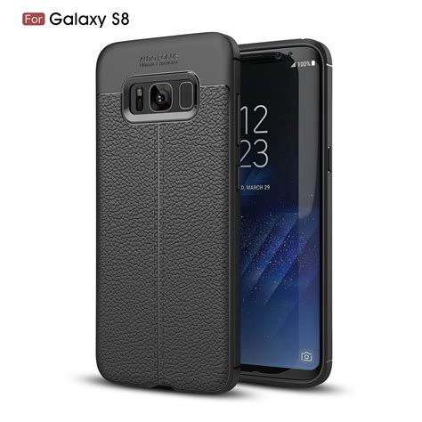 Soft Samsung Galaxy Note 8 Leather Pattern Black bakeey anti fingerprint soft tpu litchi leather cover
