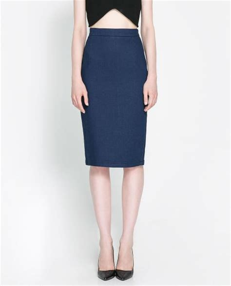 zara denim pencil skirt in blue lyst