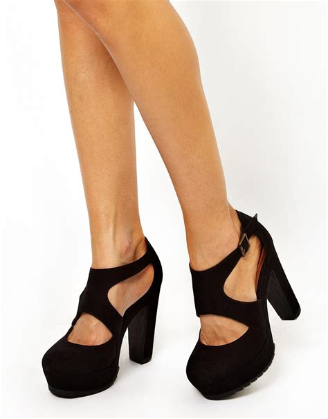 asos wide fit platform oath heeled shoes in black lyst