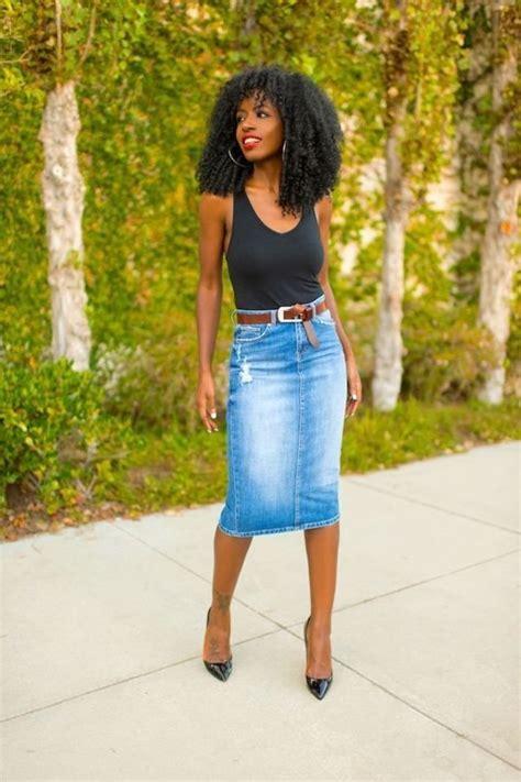 13 different ways to wear a denim pencil skirt