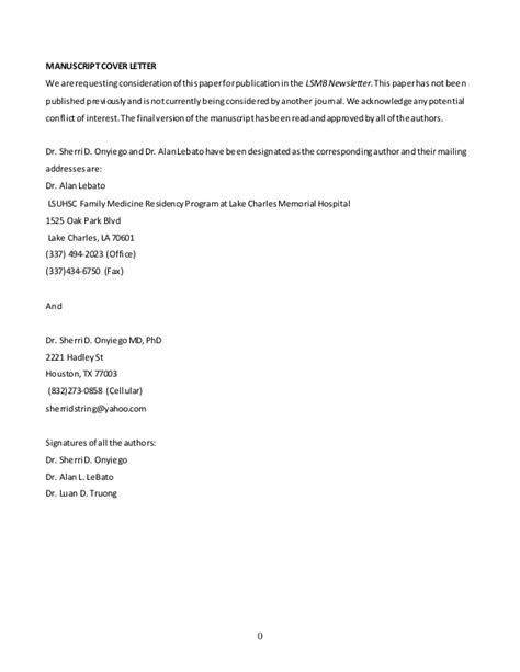 how to write cover letter for manuscript manuscript cover letter