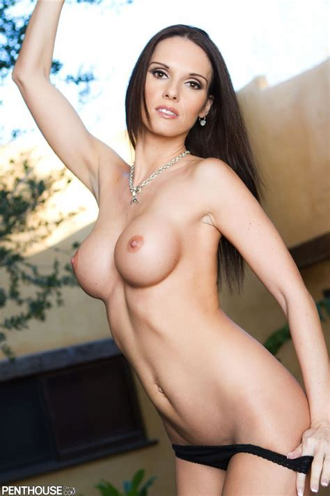 Jennifer Dark Takes Off Her Amazing Colorful Dress To Play Penthouse Pictures