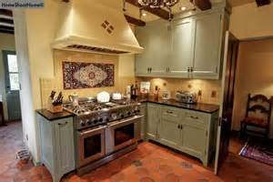 Mexican Kitchen Cabinets Medium Gray Green Cabinets With Mexican Tiled Floor