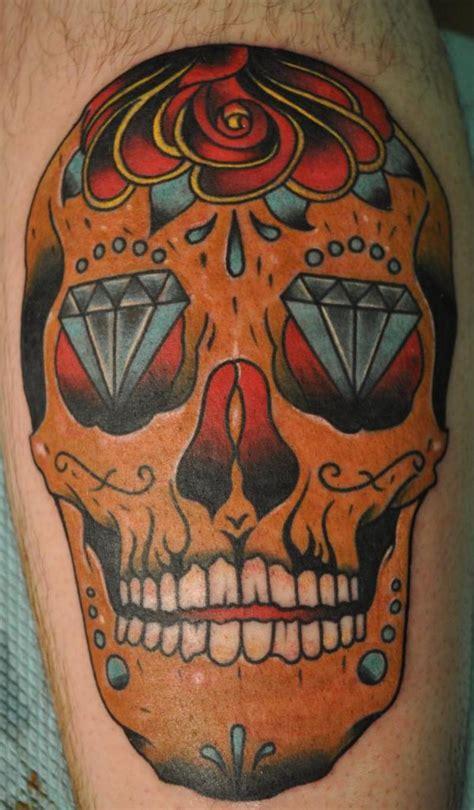 sugar skull thigh tattoos leg sugar skull img2476 171 on leg 171 tatto on