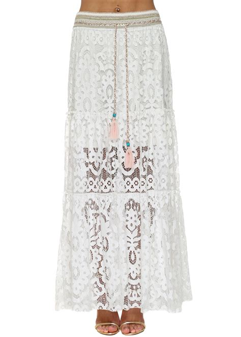 laurie joe white lace maxi skirt