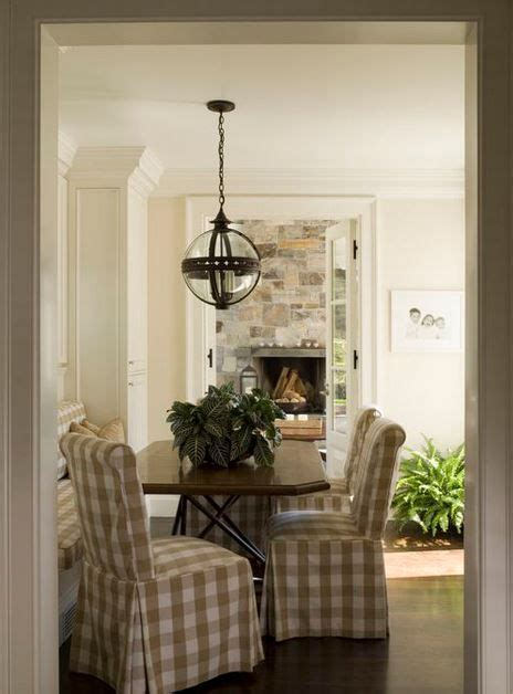 beige buffalo check dining chairs french country dining