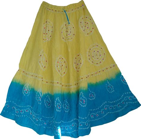 tie dye skirt in yellow and blue sequin skirts