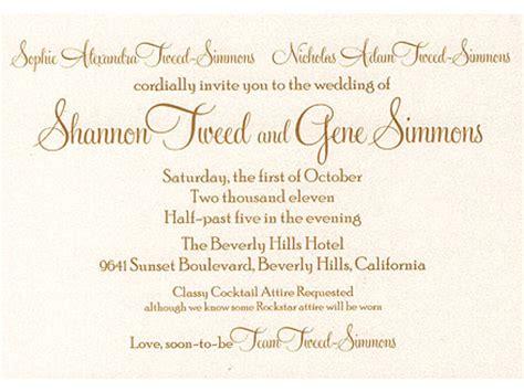wedding ceremony invitation msg gene simmons shannon tweed to on oct 1