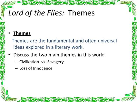 describe the major themes in lord of the flies lord of the flies chapter notes ppt video online download