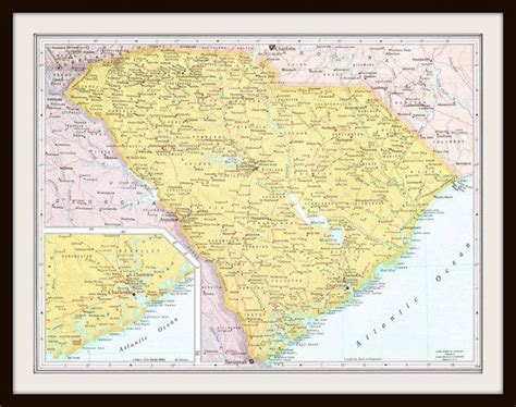 vintage south carolina south dakota  map