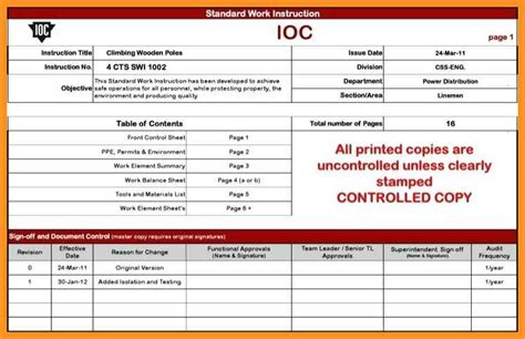 1 2 Standard Work Template Resumete Work Template For Manufacturing