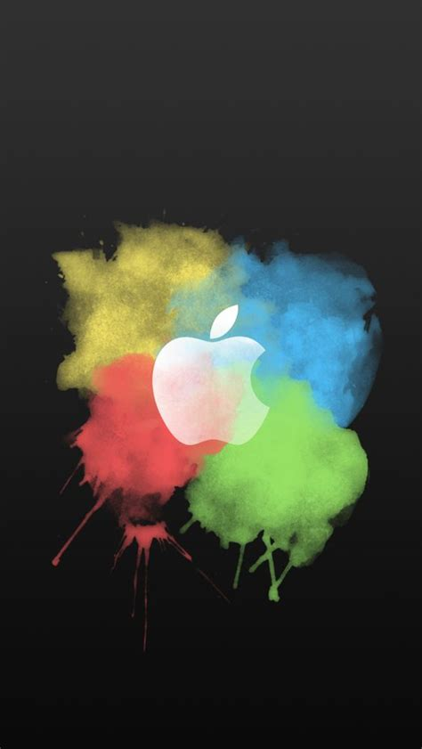 paint brush color splash apple logo iphone 5