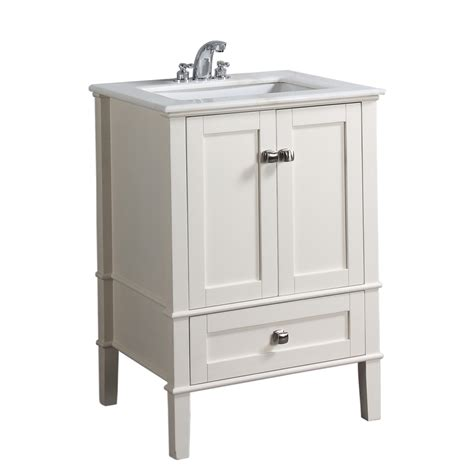 25 Bathroom Vanity With Sink Shop Simpli Home Chelsea 25 In X 21 5 In White Undermount Single Sink Bathroom Vanity With