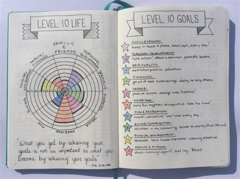 goal journal template level 10 100 goals in 10 areas of focus boho berry