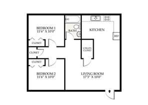 2 Bedroom 1 Bath Duplex Floor Plans by Penningroth Apartments Iowa City Iowa