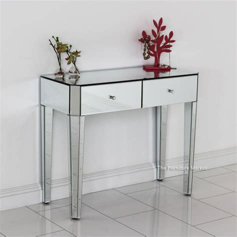 glass dressing table venetian deco mirrored glass compact dressing table