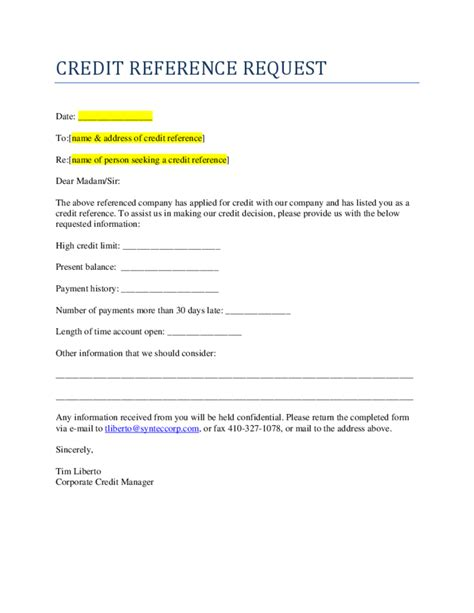 Credit Reference Form Template Credit Reference Request Free