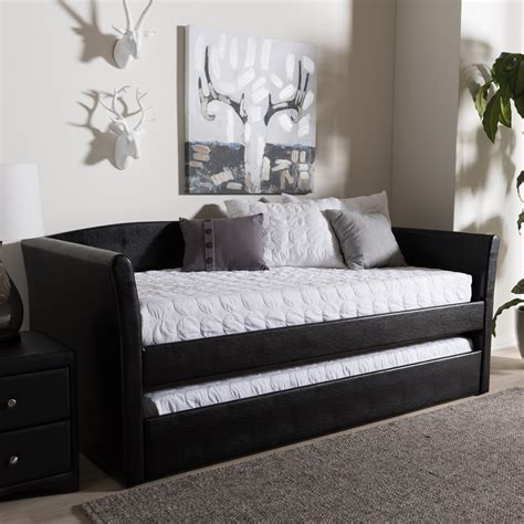 baxton studio vino black modern bed with upholstered headboard baxton studio camino modern and contemporary black faux