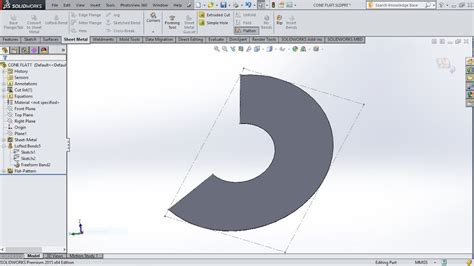 solidworks flat pattern bend notes how to create sheet metal cone in solidworks using lofted