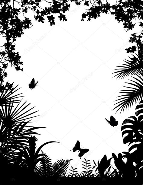 Tropical forest silhouette background — Stock Vector
