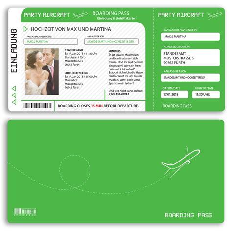 Hochzeitseinladung Als Ticket by Hochzeitseinladungen Als Flugticket In Gr 252 N Ab 55 Cent