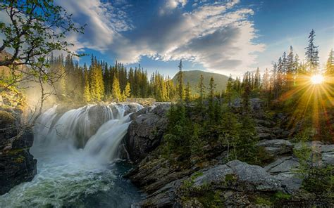 waterfall sunset river forest nature landscape sun