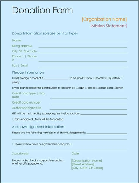 contribution form template sle printable donation form template ms office templates