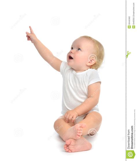the of the baby sat infant child baby toddler sitting raise up pointing