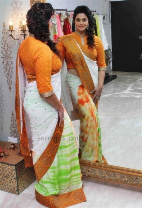 hot saree themes nagma saree stills for independence day theme look