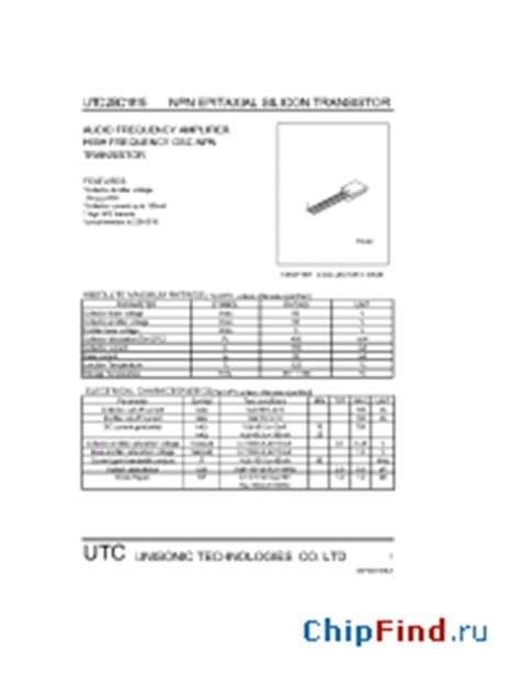 datasheet transistor c1815 c1815 utc audio frequency lifier high frequency osc npn transistor