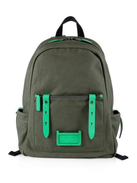 Marc By Marc Exclusive Canvas Backpack by Marc By Marc Canvas Leather Backpack In Green For
