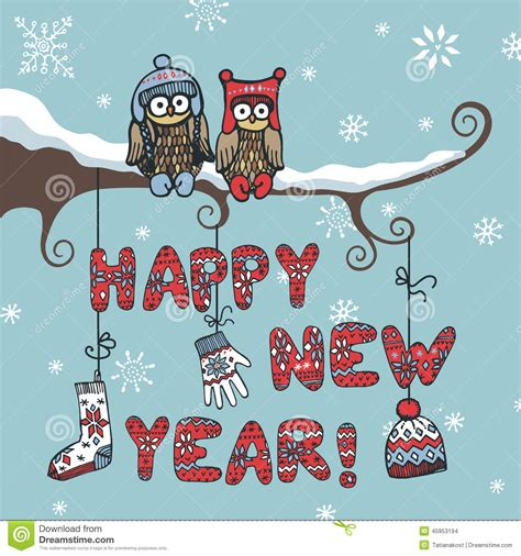 new year knitted letters owl accessories stock vector image 45953194