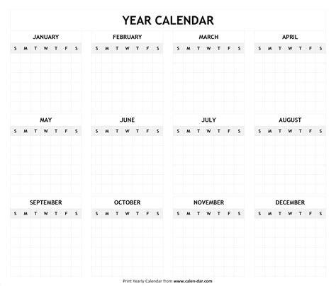 printable blank year calendar template by month editable