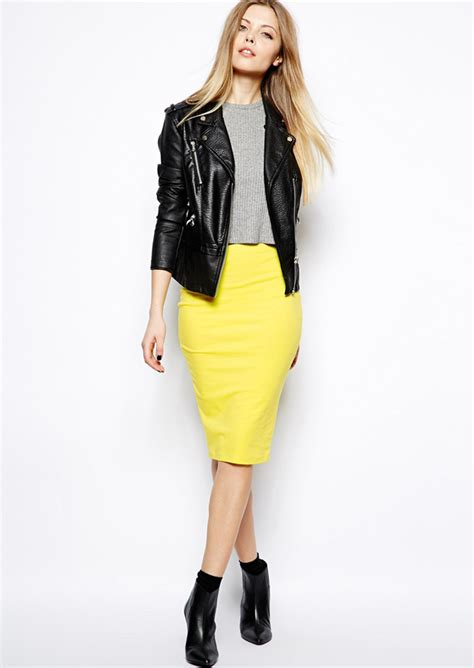 how to style midi pencil skirt biker jacket and ankle