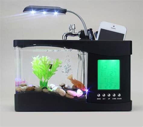 Fish Tank Desk Organizer 2017 Mini Usb Lcd Desktop Black Fish Tank Aquarium Clock Timer Calendar Led Light Fish Usb