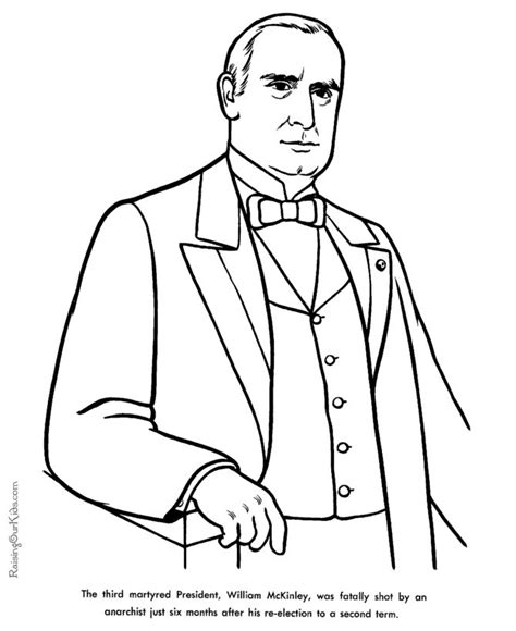 printable coloring pages us presidents free printable president william mckinley facts and