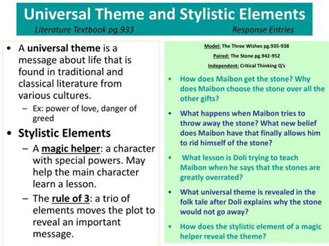 Universal Themes In Literature Elementary | ppt what is oral tradition greyling pg 9 15 response