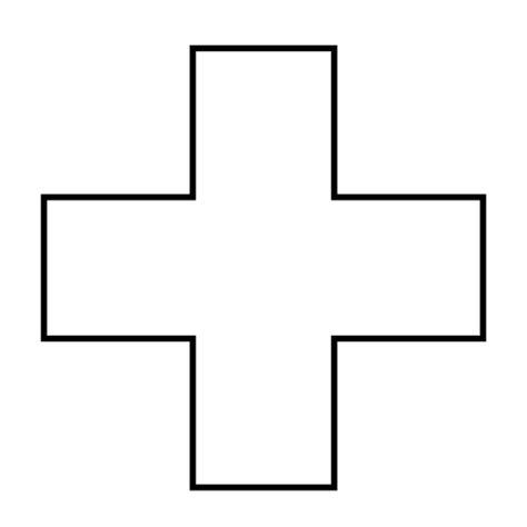 Kyt Cross White Black cross plus outline transparent png svg vector