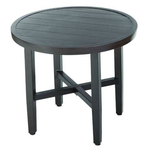Outdoor Bistro Table Hton Bay Woodbury All Weather Wicker Patio Bistro Table Dy9217 Tb The Home Depot