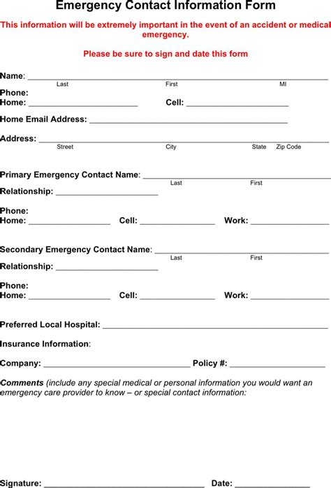 download emergency contact form 1 for free formxls