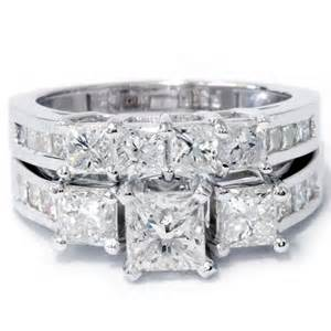 50ct princess cut diamond 3 stone engagement ring matching wedding