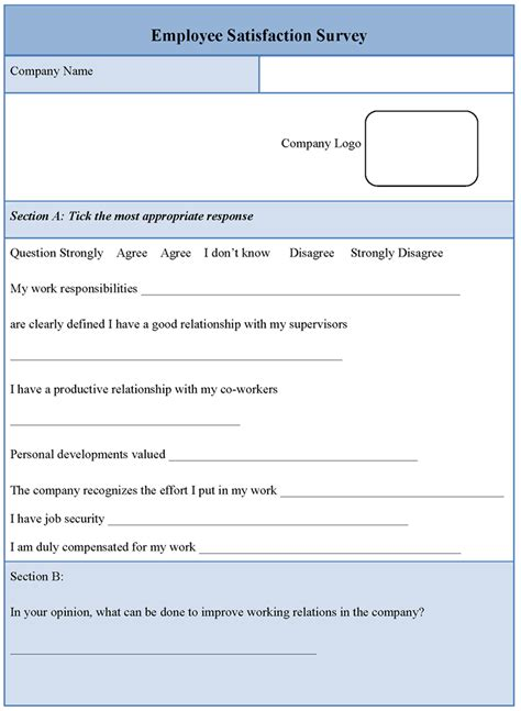 staff surveys template employee template for satisfaction survey sle of