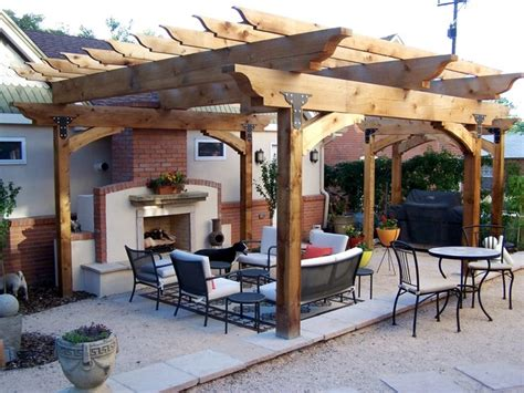 large timber cedar pergola craftsman patio denver