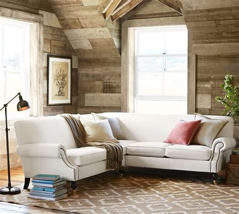 2 L Shaped Sectional by Upholstered 2 L Shaped Sectional Pottery Barn