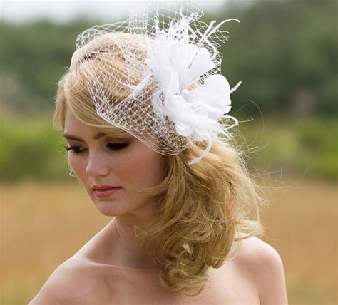 hairstyles with a headband fascinator unique wedding veil feather fascinator true white or